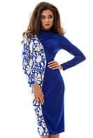 Платье женское до колена, электрик и темно-синее с белым S M L
