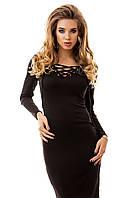Платье женское до колена, на шнуровке в области декольте черное S M L