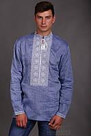 Джинсовая мужская вышиванка с длинным рукавом