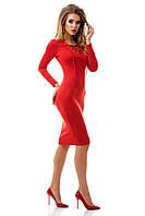 Платье женское до колена, на шнуровке в области декольте красное S M L