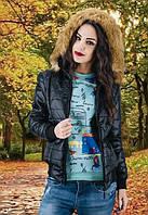 Женская куртка с капюшоном длинный рукав