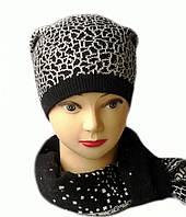 Комплект женский вязаный шапка с помпоном и шарф Lion шерсть цвет черный
