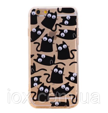 Cиликоновый чехол Котики с бегающими глазками для Iphone 4/4S