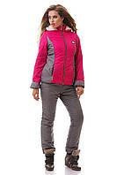 Костюм женский лыжный, куртка и штаны зимние, малина + серый S M L XL