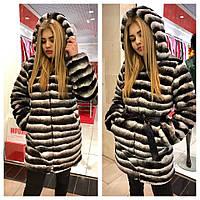 Куртка теплая женская из искусственной шиншиллы с капюшоном Gm60