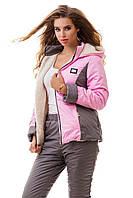 Костюм женский лыжный, куртка и штаны зимние, розовый + серый S M L XL