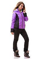 Костюм женский лыжный, куртка и штаны зимние, фиолет + черный S M L XL