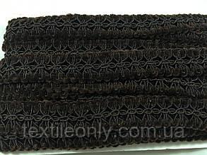 Декоративна тасьма з оксамитом колір коричневий 25 мм, фото 2