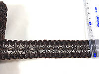 Декоративная тесьма с бархатом цвет коричневый  25 мм