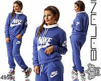 Утепленный костюм спортивный женский в батальных больших размерах лого Найк