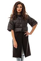 Пальто женское черное зима осень трансформер S,M,L