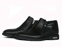 Мужские черные кожаные ботинки, фото 1