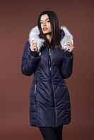 Зимняя женская молодежная куртка. Код К-82-36-17. Цвет темно синий с светлым мехом.