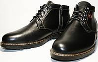 Ботинок зимний мужской Ikos 2588-1 классические, черные, молния/шнурок, натуральные мех/кожа.