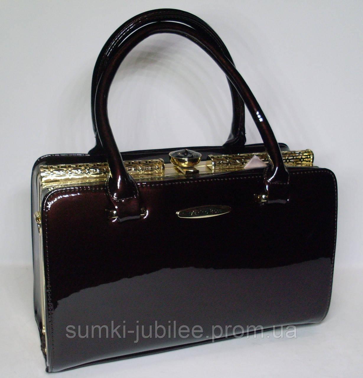 f15f2403d91d Стильная женская лаковая сумка-Ридикюль Marino Rose с рамочным замком цвета  шоколад