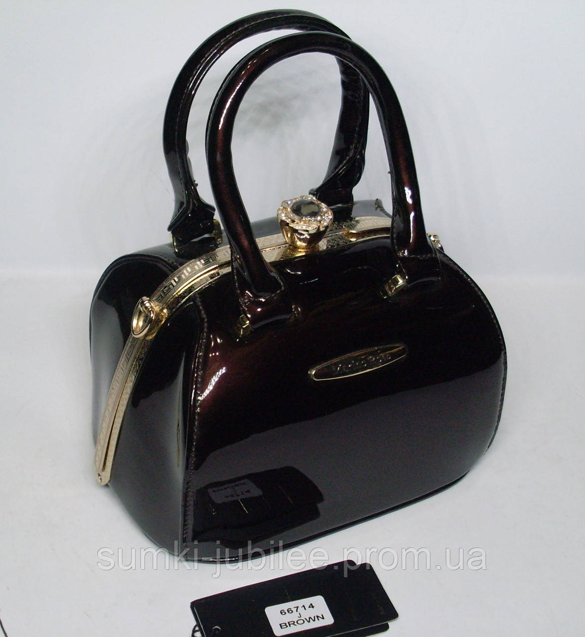 58b58668f1a5 Стильная женская лаковая сумка-Ридикюль Marino Rose с рамочным замком цвета  шоколад - Интернет-