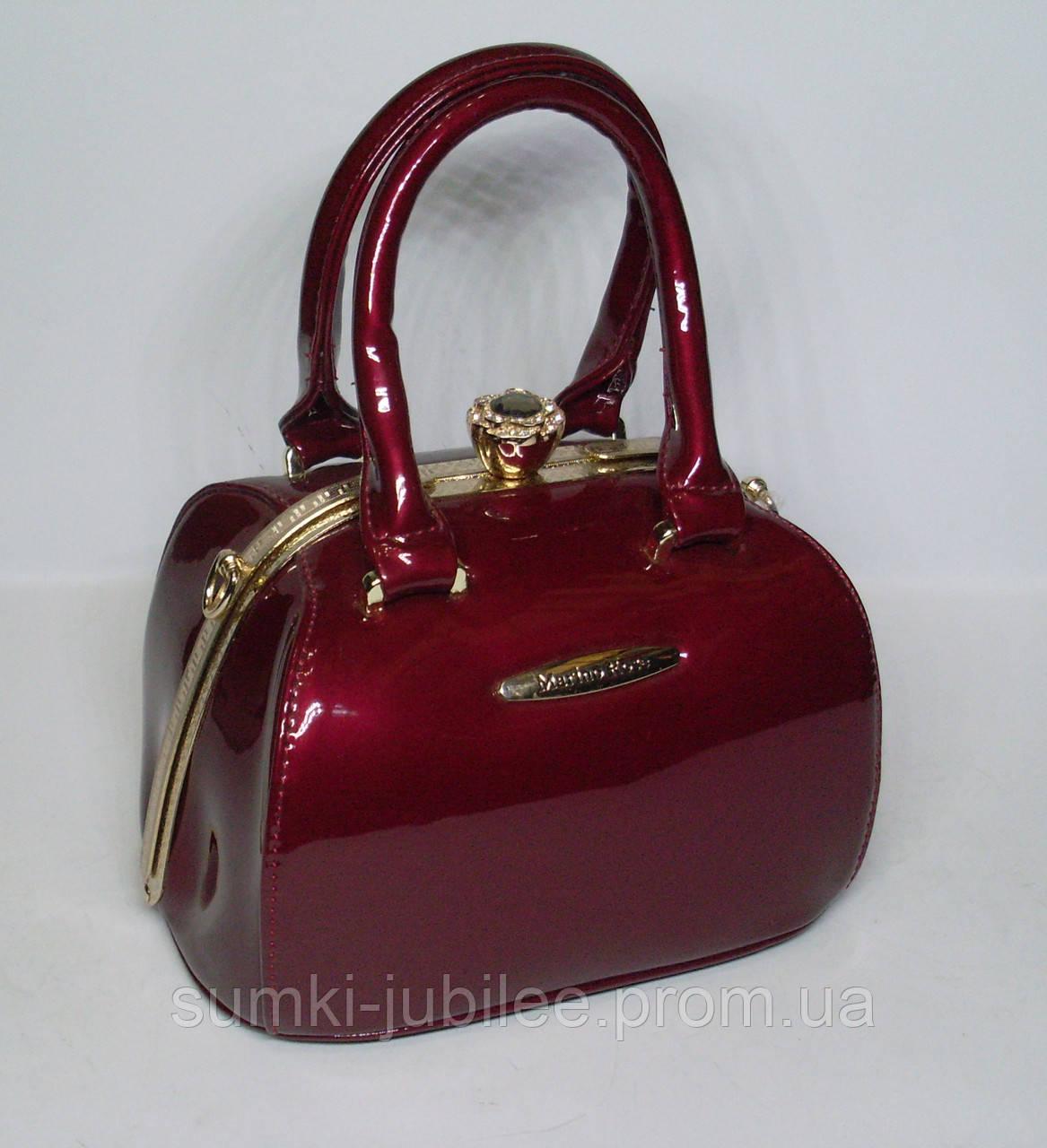 4d1bba10e968 Стильная женская лаковая сумка-Ридикюль Marino Rose с рамочным замком  красного цвета - Интернет-