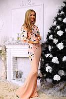 Длинное платье в пол,ткань-кукуруза,принт-Перья