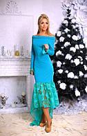 Платье вечернее в пол,спереди укороченное,рукава воланы,вставки органзы,4 цвета