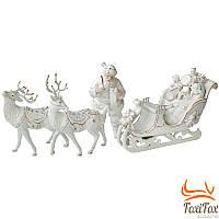 Фарфоровый Дед Мороз с санками