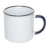Чашка Ретро керамическая с красным ободком и синей ручкой, 305 мл