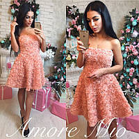 Платье с корсетным верхом из шифоновых роз на подкладке мини 2 цвета SML934