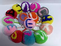 Брелок -шарик из натурального меха с буквами