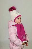 Шапка с шарфом  для девочки Снежинка