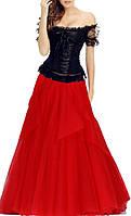 Длинное красно-чёрное платье костюм с корсетом на Новый год DL-509