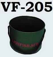 Cкладное Ведро для рыбаков, охотников, замеса прикормки LionFish.sub круглой формы и крепкой ручкой 5л