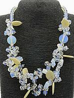 Бусы, ожерелье с голубым оттенком имитация лунного камня 60 см. 025848