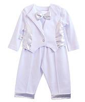 Набор для новорожденных  (штанишки, кофточка с длинным рукавом, жилет), парча,  интерлок