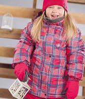 Зимний термокостюм для девочки 6, 8 лет р. 122, 134 (куртка, полукомбинезон, манишка) ТМ Perlim Pinpin Клетка VH236A