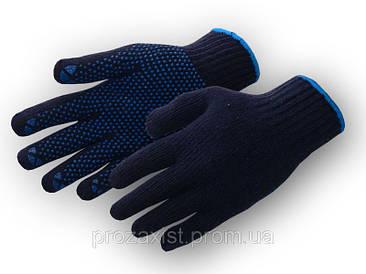 Перчатки рабочие х/б синяя с пвх покрытием (Украина)