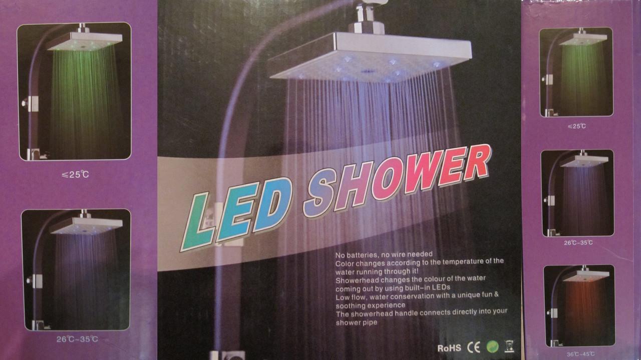 Потолочная лейка для душа со светодиодной подсветкой LED