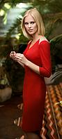 Платье женское красное с бежевыми вставками