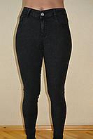 Джинсы женские черные потертые высокие