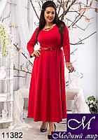 Вечернее платье в пол красного цвета (50, 52, 54) арт. 11382