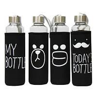 Термобутылка в чехле «My bottle» 400 мл (Черный чехол)