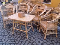 """Набор плетеной мебели 4 кресла и столик """"Простой 2"""""""