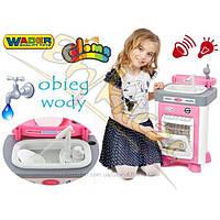 Интерактивная кухня для девочек с посудомоечной машиной WADER, подключением воды, 47946