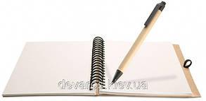 Эко-блокнот с ручкой 7535-0207 А5, на спирали сбоку, обложка биоматериал, фото 2