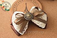 Бант для волос, заколка-бант hand-made, детские банты на голову (коричнево-белый с лентой)