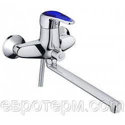 Смеситель для ванны длинный гусак с евро переключением Haiba Magic 006 Blue