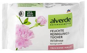 Очищающие салфетки с экстрактом дикой розы для сухой и чувствительной кожи Alverde 25шт