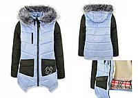 Куртка девичья на зиму с капюшоном, рост 104-146, 750/725 (цена за 1 шт. + 25 гр.)
