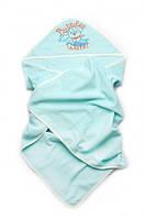 Детское полотенце для мальчика с капюшоном махровое для купания (бирюза), фото 1