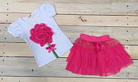 Набор на девочку футболка + юбка очень красивые 4-7 лет