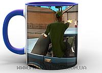 Кружка ГТА GTA перестрелка синяя