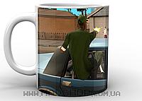 Кружка ГТА GTA перестрелка белая